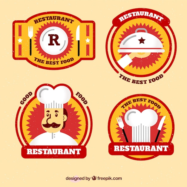 Pack of four restaurant stickers in flat design