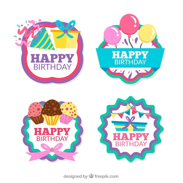 Pack Of Four Retro Birthday Stickers Vector