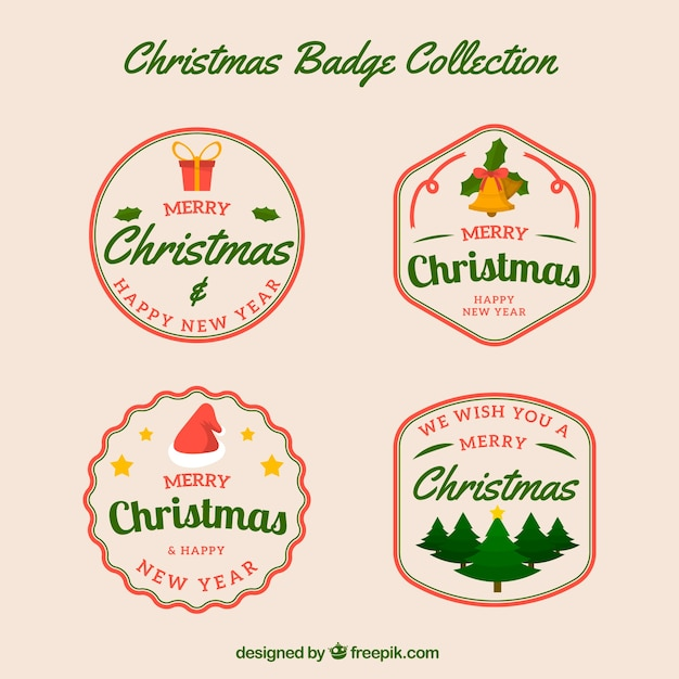 Pack of four retro christmas badges