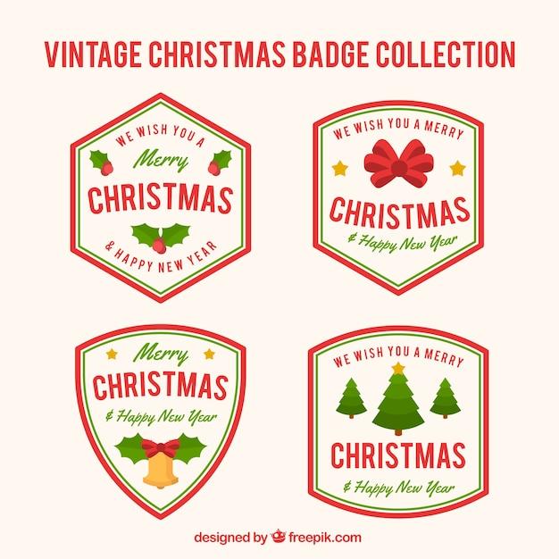 Pack of four retro christmas badges