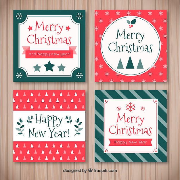 Pack of four retro christmas cards