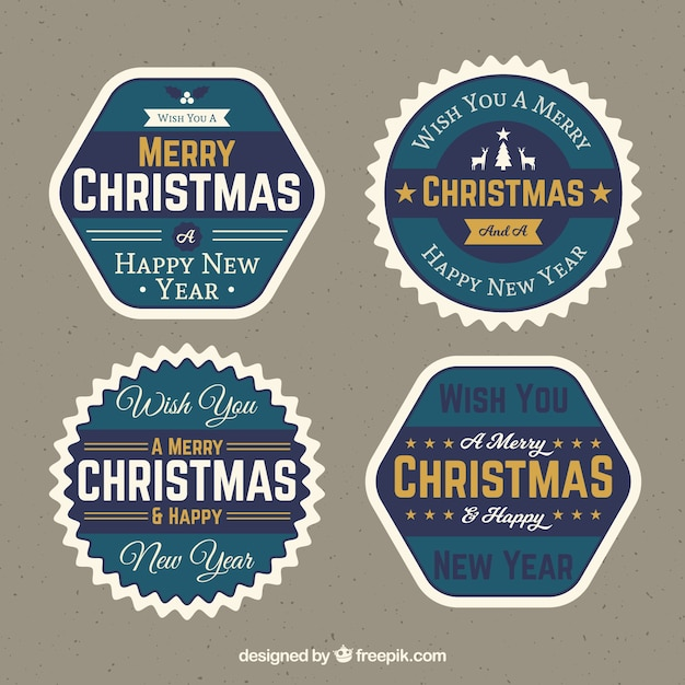 Pack of four retro christmas stickers