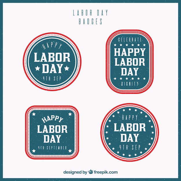 Pack of four retro labor day stickers