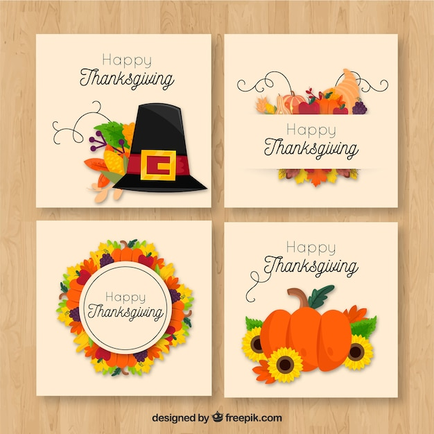 Pack of four retro thanksgiving cards
