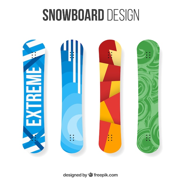 Pack of four snowboards with modern\ designs