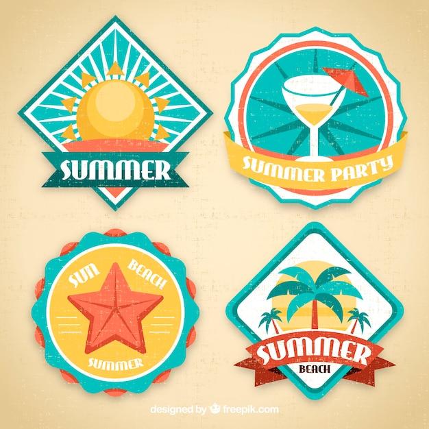 Pack of four summer decorative stickers Free Vector