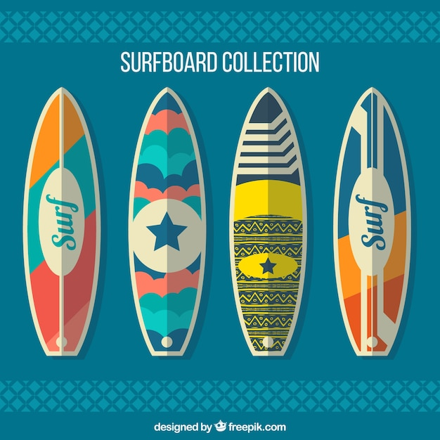 Pack of four surfboards in flat design vector free download - Dibujos para tablas de surf ...