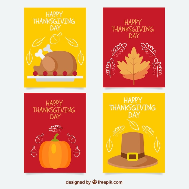 Pack of four thanksgiving cards