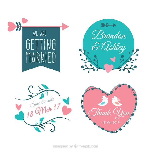 pack of four vintage bridal shower stickers free vector