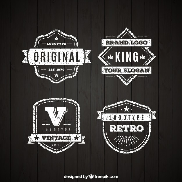 pack of four vintage logos in flat design vector premium download