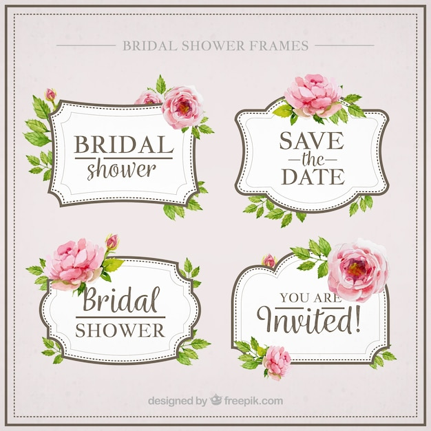 pack of four watercolor bridal shower with flowers free vector