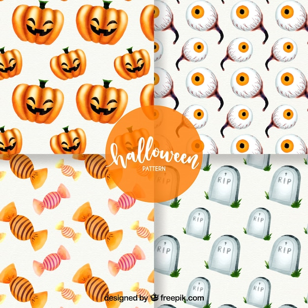 pack of four watercolor halloween patterns free vector