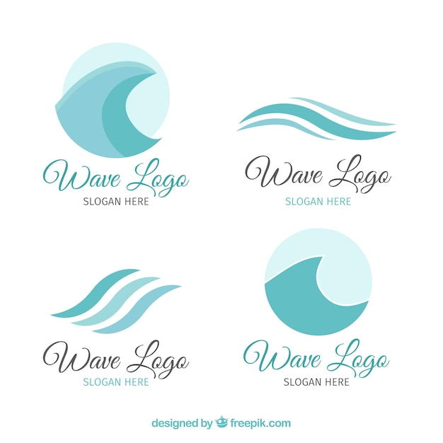 pack of four wave logos in blue tones vector free download
