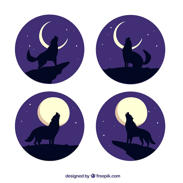 Pack of four wolves howling at the moon Free Vector