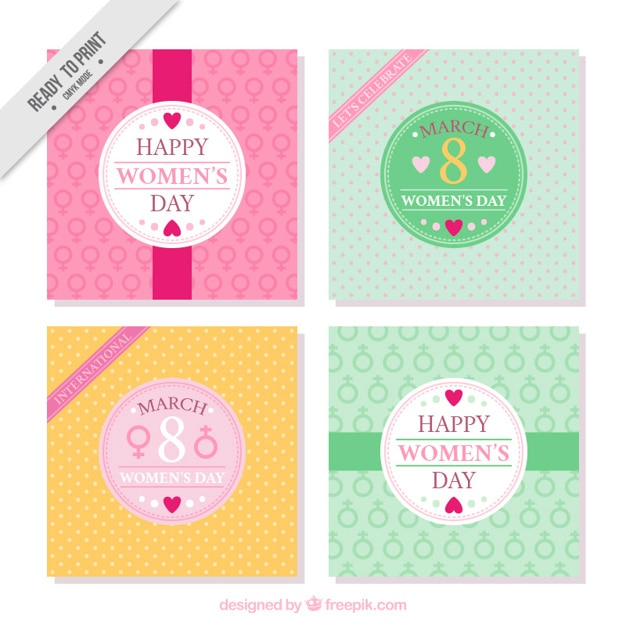 Pack of four womens day greeting cards vector free download pack of four womens day greeting cards free vector stopboris Images