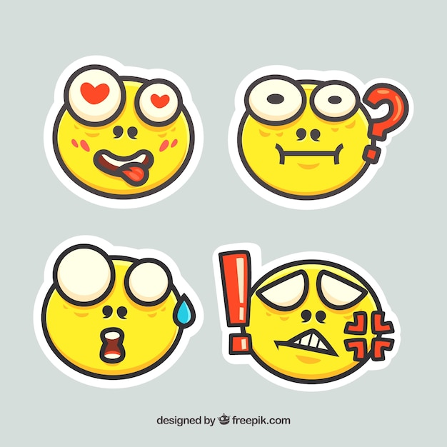 Pack of four yellow emoticon stickers