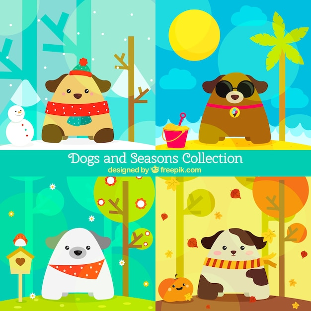 Pack of friendly dogs in different\ seasons