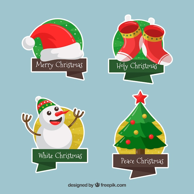 Pack of funny christmas stickers