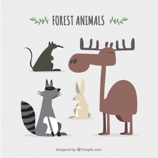 Пакет забавных лесных животных Бесплатные векторы