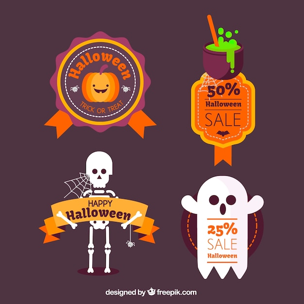 Pack of funny halloween characters in flat design