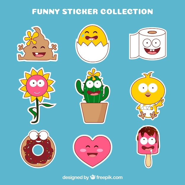 Pack of funny hand drawn stickers