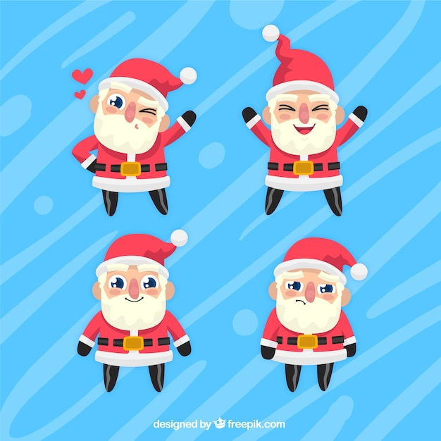Pack of funny santa claus character