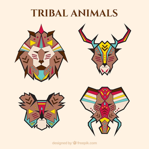 Pack of geometric animals in ethnic\ style