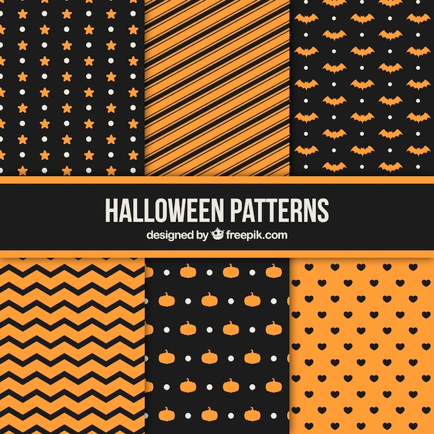 Pack of geometric halloween patterns Vector | Free Download
