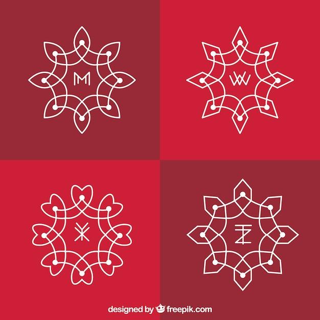 Pack of geometric ornamental logos