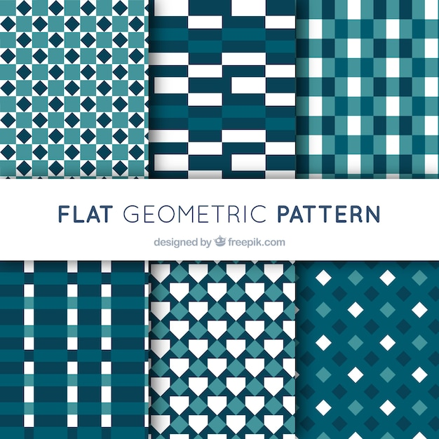 Pack of geometric patterns in flat design