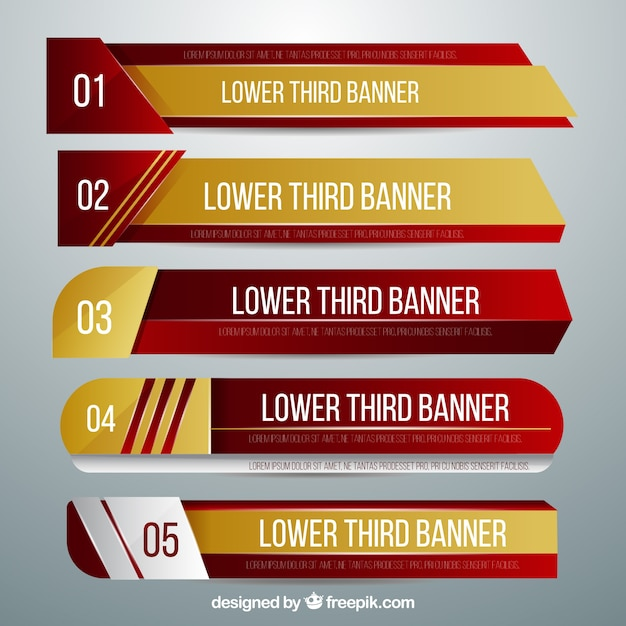 pack of golden and red lower thirds free vector