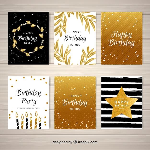Pack of golden birthday greetings vector free download pack of golden birthday greetings free vector stopboris Images