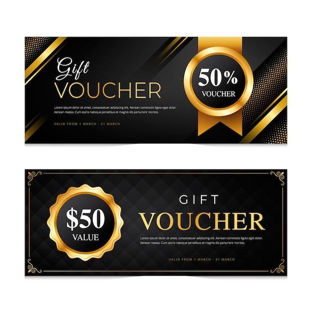 Пакет золотых подарочных сертификатов шаблона Бесплатные векторы