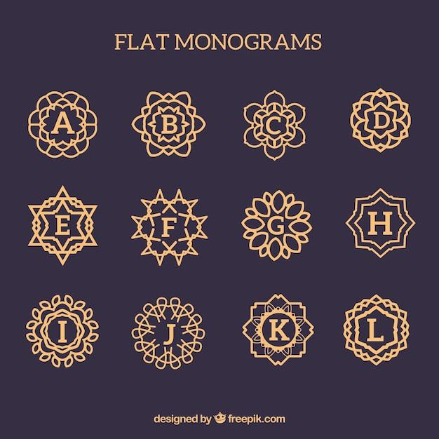Pack of golden monograms