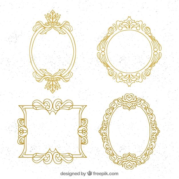 Pack of golden ornamental frames Free Vector