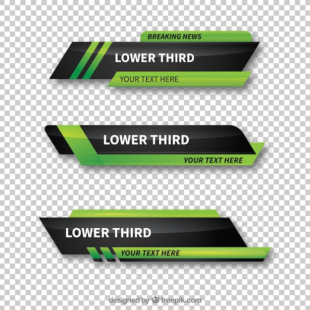 Pack Of Green Abstract Lower Thirds Vector Free Download