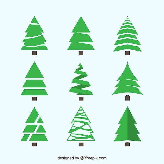 다른 스타일로 그린 크리스마스 트리 팩 무료 벡터