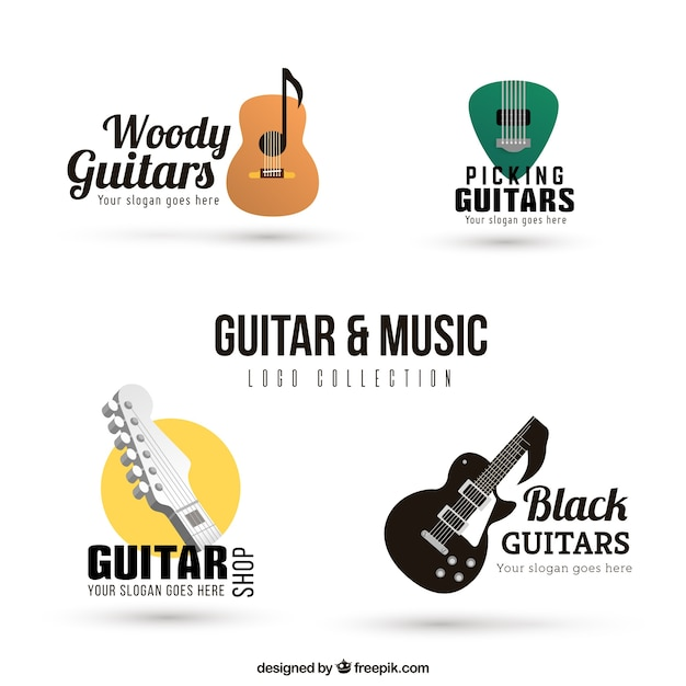 pack of guitar logos in realistic design vector free