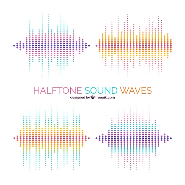 pack of halftone sound waves vector free download rh freepik com sound wave vector free download sound wave vector png