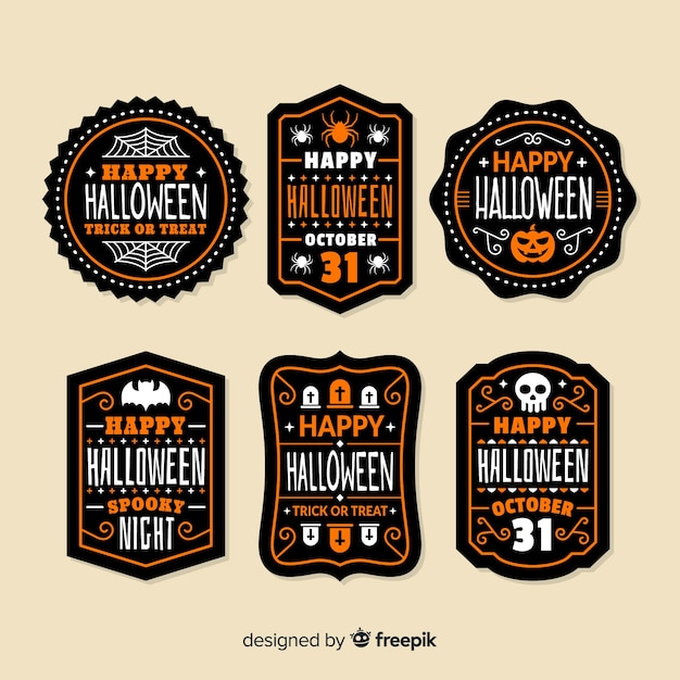 Pack of halloween badges Free Vector