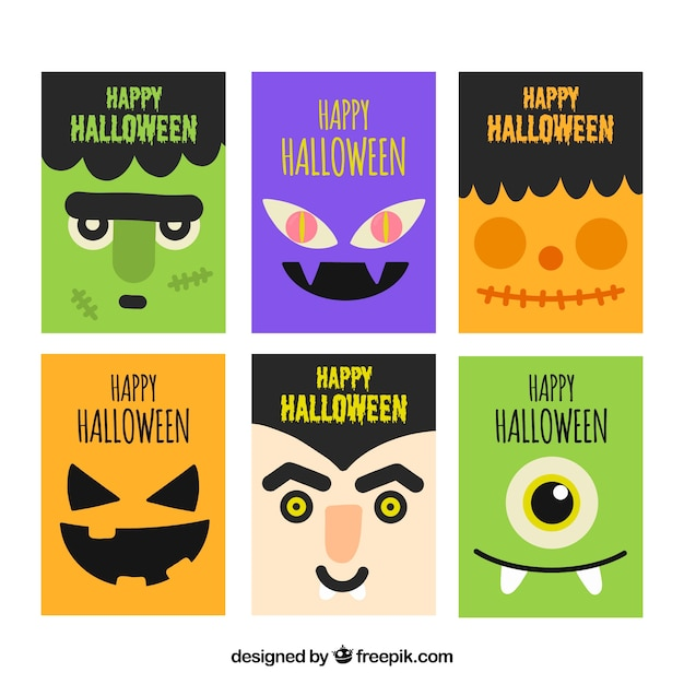 Pack of halloween cards with characters in flat design Free Vector