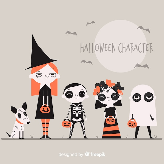 Pack of halloween characters Free Vector