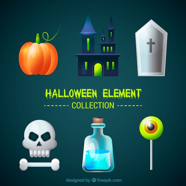 Pack of halloween elements with castle and\ skull