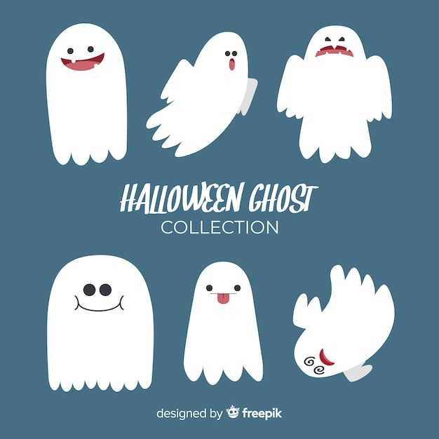 Pack of halloween ghosts Free Vector