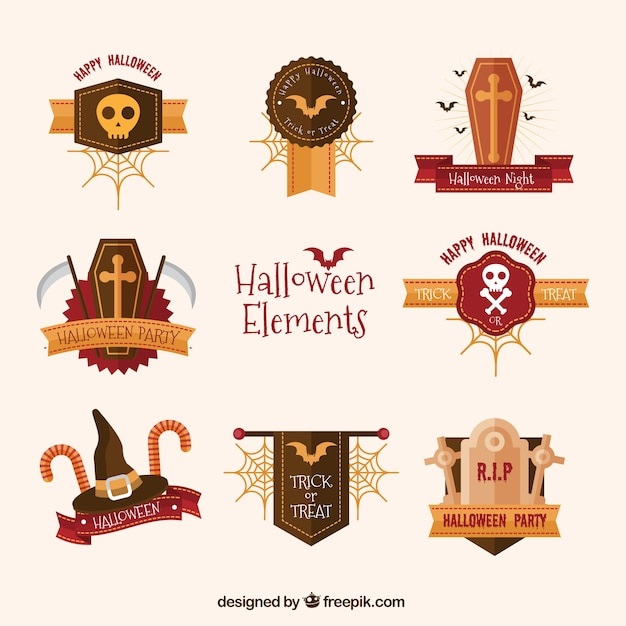 pack of halloween items with golden details free vector - Halloween Items