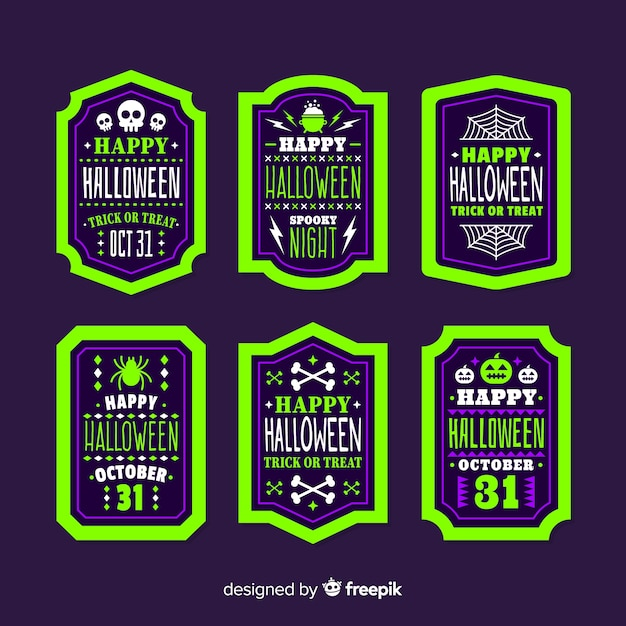 Pack of halloween labels Free Vector