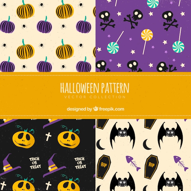 Pack of halloween patterns with elements