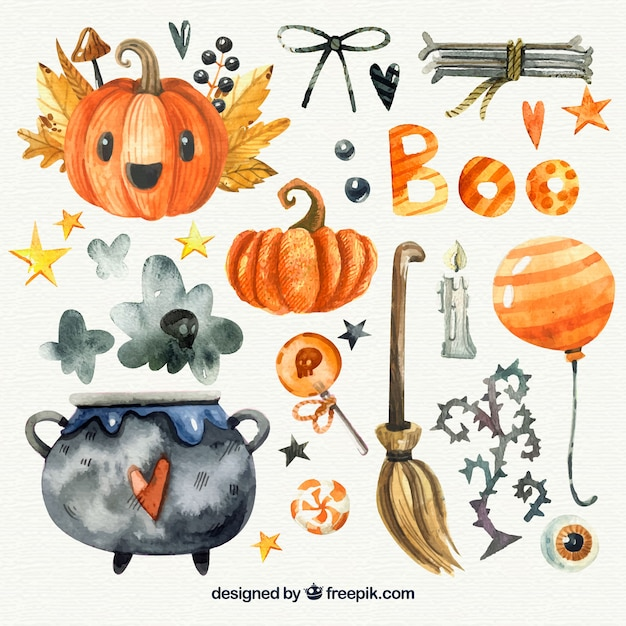Pack of halloween watercolor elements Free Vector
