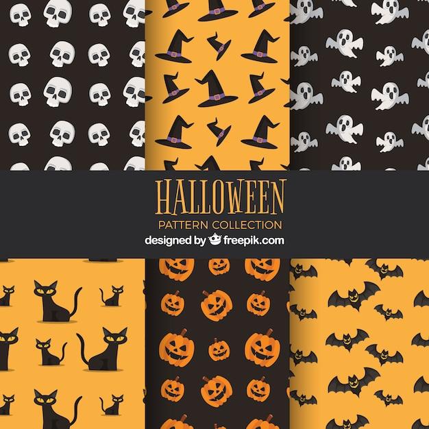 Pack of hallowen vintage patterns in flat design