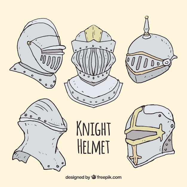 Pack of hand drawn armor helmets